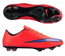 Nike Mercurial Vapor X FG Soccer Cleats (Bright Crimson/Persian Violet)