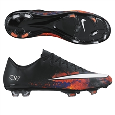 Nike Mercurial Vapor X CR7 FG Soccer Cleats (Black/Total Crimson/Metallic Silver/White)