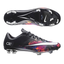 Nike Mercurial Veloce II CR7 FG Soccer Cleats (Black/Total Crimson/Metallic Silver/White)