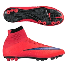 Nike Mercurial SuperFly IV AG-R Soccer Cleats (Bright Crimson/Persian Violet)