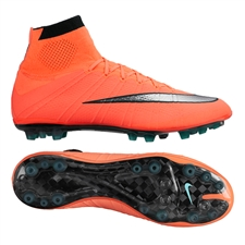 Nike Mercurial SuperFly IV AG-R Soccer Cleats (Bright Mango/Hyper Turquoise/Metallic Silver)
