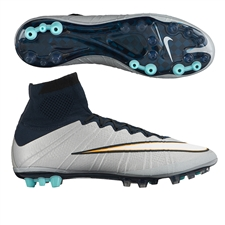Nike Mercurial SuperFly IV CR7 AG Soccer Cleats (Metallic Silver/White/Hyper Turquoise/Dark Obsidian)