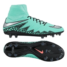 Nike Hypervenom Phatal II DF FG Soccer Cleats (Green Glow/Hyper Orange/Metallic Silver)