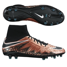 Nike Hypervenom Phatal II DF FG Soccer Cleats (Metallic Red Bronze/Green Glow/Black)