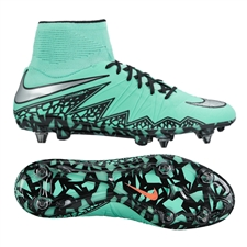 Nike Hypervenom Phantom II SG-Pro Soccer Cleats (Green Glow/Hyper Orange/Metallic Silver)
