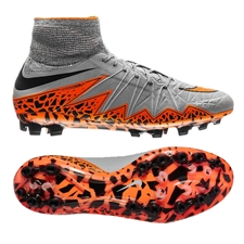 Nike Hypervenom Phantom II AG-R Soccer Cleats (Wolf Grey/Total Orange/Black)