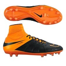 Nike Hypervenom Phatal II DF Tech Craft (Leather) FG Soccer Cleats (Black/Total Orange)