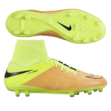 Nike Hypervenom Phatal II DF Tech Craft (Leather) FG Soccer Cleats (Canvas/Volt/Black)
