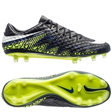 Nike Hypervenom Phinish FG Soccer Cleats (Black/White/Volt/Paramount Blue)