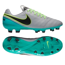 Nike Tiempo Genio II Leather FG Soccer Cleats (Wolf Grey/Black/Clear Jade)