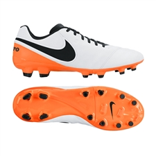 Nike Tiempo Genio II Leather FG Soccer Cleats (White/Total Orange/Black)