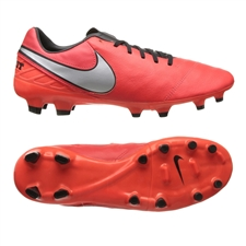 Nike Tiempo Mystic V FG Soccer Cleats (Light Crimson/Total Crimson/Metallic Silver)
