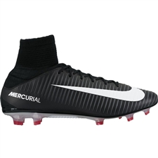Nike Mercurial Veloce III DF FG Soccer Cleats (Black/White/Dark Grey/University Red)