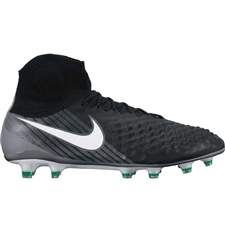 Nike Magista Obra II FG Soccer Cleats (Black/White/Cool Grey/Stadium Green)