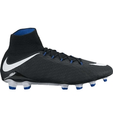 Nike Hypervenom Phatal III DF FG Soccer Cleats (Black/White/Game Royal)
