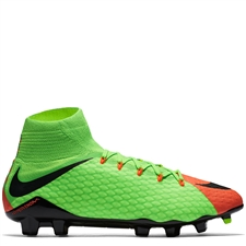 Nike Hypervenom Phatal III DF FG Soccer Cleats (Electric Green/Black/Hyper Orange/Volt)