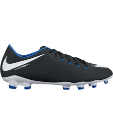 Nike Hypervenom Phelon III FG Soccer Cleats (Black/White/Game Royal)