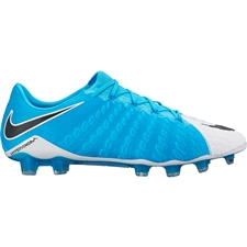 Nike Hypervenom Phantom III FG Soccer Cleats (White/Black/Photo Blue/Chlorine Blue)