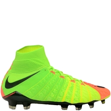 Nike Hypervenom Phantom III DF FG Soccer Cleats (Electric Green/Black/Hyper Orange/Volt)