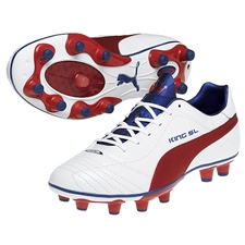 Puma King Finale SL I FG Soccer Cleats (White/Ribbon Red/Limoges)