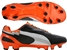 Puma evoSPEED 1 K FG Soccer Cleats (Black/White/Team Orange)