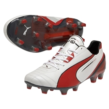 Puma King SL FG Soccer Cleats (White/High Risk Red/Black)