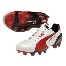 Puma King FG Soccer Cleats (White/High Risk Red/Black)