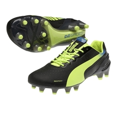 Puma evoSPEED 1.2 FG Soccer Cleats (Black/Fluorescent Yellow)