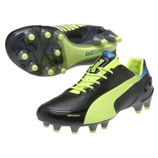 Puma evoSPEED 1.2 L FG Soccer Cleats (Black/Fluorescent Yellow)