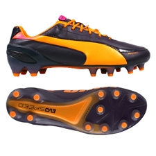 Puma evoSPEED 1.2 L FG Soccer Cleats (Blackberry Cordial/Fluorescent Orange/FluorescentYellow)