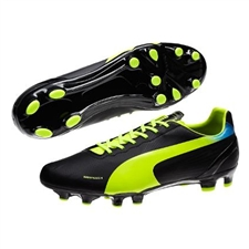 Puma evoSPEED 4.2 FG Soccer Cleats (Black/Fluorescent Yellow)