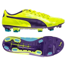 Puma evoPOWER 1 FG Soccer Cleats (Fluro Yellow/Prism Violet)