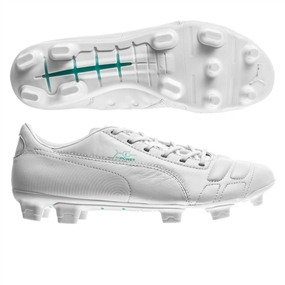 Puma evoPOWER 1 Leather FG Soccer Cleats (White/Pool Green)
