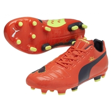 Puma evoPOWER 3 FG Soccer Cleats (Fluorescent Peach/Ombre Blue)
