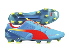 Puma evoSPEED 1.2 SL FG Soccer Cleats (Sharks Blue/Fluro Peach)