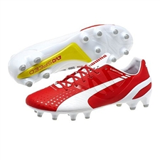 Puma evoSPEED 1.3 FG Soccer Cleats (White/High Risk Red)