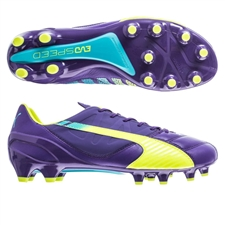 Puma evoSPEED 1.3 Leather FG Soccer Cleats (Prism Violet/Fluro Yellow/Scuba Blue)