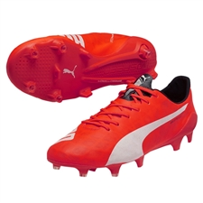 Puma evoSPEED SL FG Soccer Cleats (Lava Blast/White/Total Eclipse)