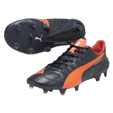 Puma evoSPEED SL (Leather) FG Soccer Cleats (Total Eclipse/Lava Blast/White)