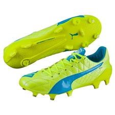 Puma evoSPEED SL (Leather) FG Soccer Cleats (Safety Yellow/Atomic Blue/White)