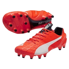 Puma evoSPEED 1.4 FG Soccer Cleats (Lava Blast/White/Total Eclipse)