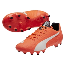 Puma evoSPEED 4.4 FG Soccer Cleats (Lava Blast/White/Total Eclipse)