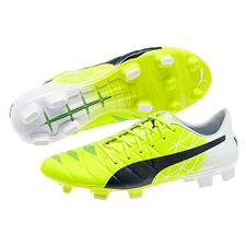 Puma evoACCURACY 1 FG Soccer Cleats (Fluro Yellow/Peacoat/White)