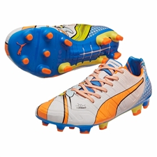 Puma evoPOWER 1.2 Graphic Pop FG Soccer Cleats (White/Orange Clownfish/Electric Blue Lemonade)