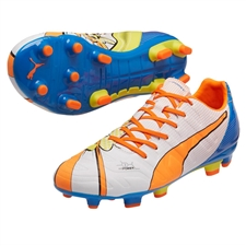 Puma evoPOWER 3.2 Graphic Pop FG Soccer Cleats (White/Orange Clownfish/Electric Blue Lemonade)