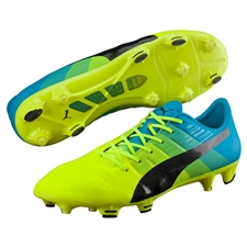 Puma evoPOWER 1.3 FG Soccer Cleats (Safety Yellow/Black/Atomic Blue)