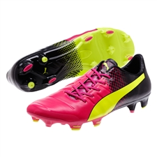 Puma evoPOWER 1.3 Tricks FG Soccer Cleats (Pink Glo/Safety Yellow/Black)