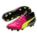 Puma evoPOWER 4.3 Tricks Youth FG Soccer Cleats (Pink Glo/Safety Yellow/Black)