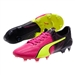 Puma evoSPEED SL II Leather Tricks FG Soccer Cleats (Pink Glo/Safety Yellow/Black)
