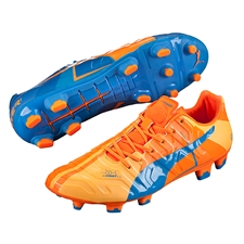 Puma evoPOWER 1.2 Tricks FG Soccer Cleats (Orange Clownfish/Electric Blue Lemonade)